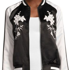 Belle & Sky Embroidered Satin Bomber Jacket 3X